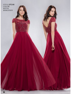 Anny №SP5540 темно-красное с короткими рукавами