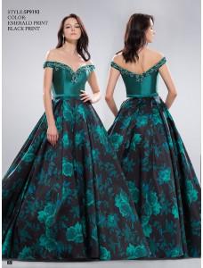 Anny №SP9193 темно-зеленое с цветочным рисунком на пышной юбке