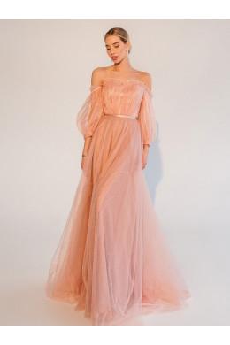 Laf014 розового цвета из фатина с открытыми плечами