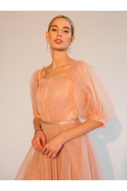 Laf014 розового цвета из фатина с открытыми плечами_2