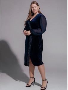 BAF040B синее бархатное платье