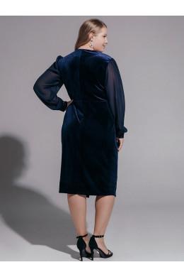 BAF040B синее бархатное платье_2