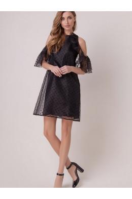161001 стильное черного цвета в горошек от дизайнера OLGA SKAZKINA