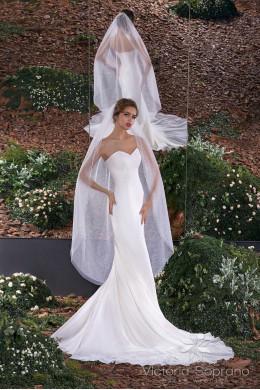 Фата 34 для невесты длинная с рисунком