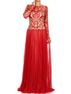 Модель №54 закрытое красного цвета с длинными рукавами