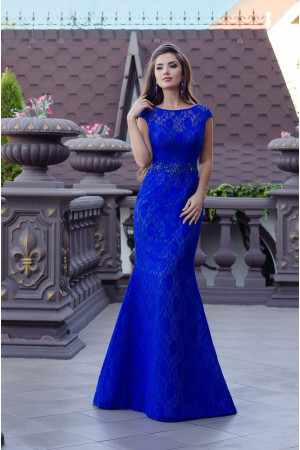 Модель №48 длинное синее с кружевом