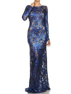 Модель №56 синее блестящее облегающее фигуру