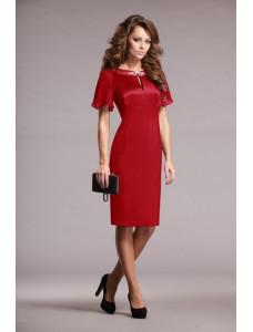 Модель №25 красное с короткими рукавами и каплеобразным вырезом